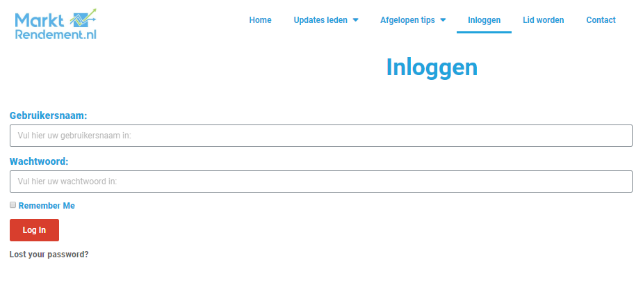 Inlogpagina Marktrendement.nl